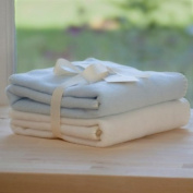 Tuppence and Crumble soft fleece Baby Boy blankets gift set Cream and Pale Blue