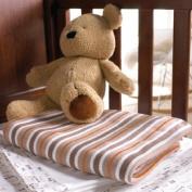 Izziwotnot Vincent Candy Stripe Stroller Knitted Blanket,Mocha, Moses/Crib/Pram