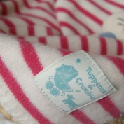 Tuppence and Crumble Pink Breton Stripe Lambswool Baby Blanket