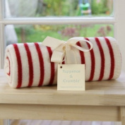 Tuppence and Crumble Red Breton Stripe Lambswool Baby Blanket
