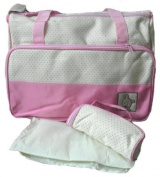 Cream & Pink polka dot baby Changing bag with bottle holder & change mat