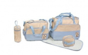 5pcs Baby Nappy Changing Bags Set in Light Blue