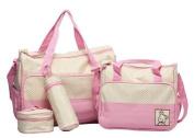 5pcs Baby Changing Bag in Pink/Cream