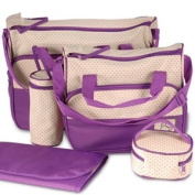 Purple 5pcs Cute Baby Nappy Changing Diaper Bags Large Size High Quality Set