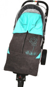 ByBUM - Footmuff 5.1cm 1 for Spring, Summer and Autumn/Fall; Universal for infant and child car seats, eg; Maxi-Cosi, for a pushchair/stroller or buggy; ANTHRACITE/AQUA