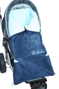ByBUM - Footmuff 5.1cm 1 for Spring, Summer and Autumn/Fall; Universal for infant and child car seats, eg; Maxi-Cosi, for a pushchair/stroller or buggy; DARK BLUE/BLUE