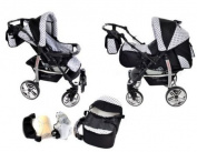 2-in-1 Travel System incl. Baby Pram with 360° Swivel Wheels, Pushchair & Accessories, Black & Black Polka Dots