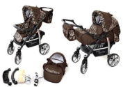 2-in-1 Travel System incl. Baby Pram with 360° Swivel Wheels, Pushchair & Accessories, Brown & Wawy Lines