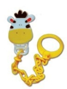 DUMMY SOOTHER COMFORTER CLIP & CHAIN - ORANGE GIRAFFE - IDEAL FOR BABY AND PERFECT GIFT AT BABY SHOWER, CHRISTENING, FAMILY DAY