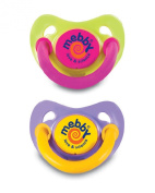 Mebby Asymmetrical Natural Latex Soothers with Anatomical Teats Plus Covers - Purple and Yellow, Green and Pink, 6 Months Plus, 2 Twin Packs