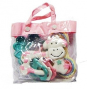 Three Baby Teethers/Rattles In Gift Bag For Girl