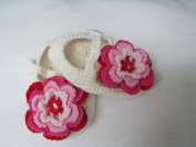 Style Nuvo Hand Crocheted Baby Girl's Shoes With Large Crocheted Flower