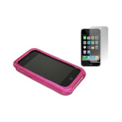 Pink FABRIC Clip On Back Shell Case & Screen Protector. Apple iPhone 3G / 3G S
