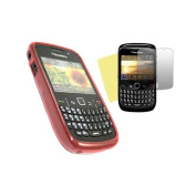 Red ELITE Case LCD Screen protector and Cleaning Cloth BlackBerry 8520 Curve 9300 3G