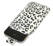 Black White Leapord Pouch Protective Case with Pull Tab. Apple iPhone 4