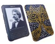 Premuim FunkGem (Gold Black White) Golden Case & Screen Protector. Amazon Kindle 3 3G. Wifi