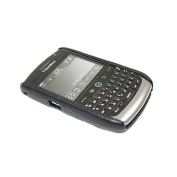 Black Leather Clip On Back Shell Case & LCD Protector. BlackBerry 8900 Curve