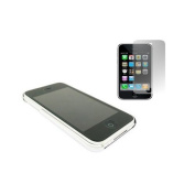 Chrome Clip On Back Shell Case & Screen Protector. Apple iPhone 3G / 3G S