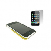 Gold Clip On Back Shell Case & Screen Protector. Apple iPhone 3G / 3G S