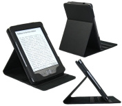 iTALKonline PADWEAR LEATHER LUXFOLIO Executive BLACK Wallet Case/Cover/Stand With SMART TILT STAND Amazon Kindle 4 15cm (2011 Model) Wi-Fi 3G, Kindle 5