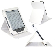 iTALKonline PADWEAR LEATHER LUXFOLIO Executive WHITE Wallet Case/Cover/Stand With SMART TILT STAND Amazon Kindle 4 15cm (2011 Model) Wi-Fi 3G, Kindle 5