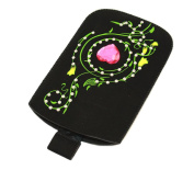 Black Mosiac Pink Diamond Slip Pouch Protective Case with Pull Tab - Small.