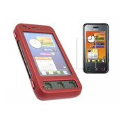 Red Hybrid Case + LCD Screen protector and Cleaning Cloth - LG KC910 Renior