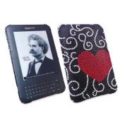 Premuim FunkGem (Red Black) Love Heart Case & Screen Protector - Amazon Kindle 3 3G - Wifi