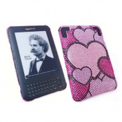 Premuim FunkGem (Pink Black) Hearts Medley Case & Screen Protector - Amazon Kindle 3 3G - Wifi