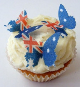 24 x Pre Cut Australia Australian Flag Butterfly Butterflies Fairy Muffin Cup Cake Toppers Decoration Edible Rice Wafer Paper