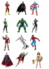 12 Large Stand Up Edible Premium Wafer Paper Marvel Superhero Cupcake Toppers - 12 characters by Carlton Trading