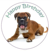 Boxer Dog Cake Topper edible sugar icing 19cm decoration