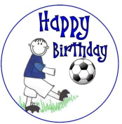 Happy Birthday Football Boy blue cake topper printed onto edible icing sheet , completely edible