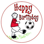 Happy Birthday Football Boy Red cake topper printed onto edible icing sheet , completely edible