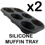 2 PC 6 CUP LARGE SILICON MUFFIN CAKE BAKING TRAY