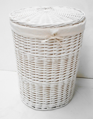 White wicker round laundry basket bin with lining fgs4 laundry basket with lid l by uk - Wicker laundry basket with liner and lid ...