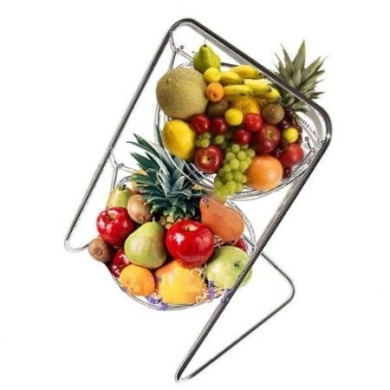 2 tier stainless steel chromed hanging fruit bowl vegetable basket with stand by roukenglen - Tiered fruit bowl ...
