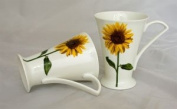 Pair of Elegant Sunflower Fine Bone China Cone Mugs