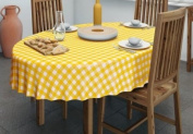 140x200cm OVAL PVC/VINYL TABLECLOTH - YELLOW GINGHAM
