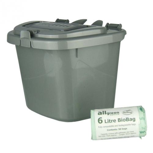 silver grey 5l vented kitchen compost caddy 50x 6l. Black Bedroom Furniture Sets. Home Design Ideas
