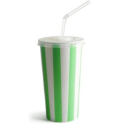 Green Striped Milkshake Paper Cups Set 470ml - Set of 50 | 50 x Green Striped Milkshake Cups, 50 x Straw Slit Lids, 250 x Bendy Straws | Paper Cups, Smoothie Cups, Pick N Mix Cups, Popcorn Cups