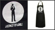 "JAMES BOND COOKING NOVELTY APRONS PRINTED. ""licenced TO GRILL"" JAMES BOND APRON BLACK BBQ APRON OVERALL"