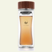 Thermos flask, double-skinned glass Therm-O Terra by Aquaovo, with removable tea strainer - Capacity : 25 cl