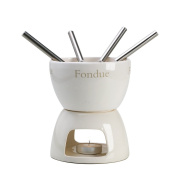 Ceramic Fondue Set - Chocolate & Cheese 4 People Dipping Bowl Set - With FREE Tealight