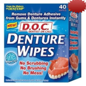 D.O.C. Denture Wipes Instantly Removes Denture Adhesive. No Scrubbing, No Brushing, No Mess, 40 Count Boxes