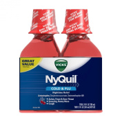 Vicks 44 Nyquil Cold And Flu Relief Liquid, Cherry, 710ml