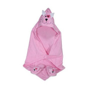 Childerens Wraparound Spa Hooded Towel and Slipper Set, Pink Cat Design