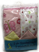 Spasilk Hooded Terry Bath Towel with Washcloths, Pink Garden, 2-Count