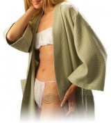 Waffle Kimono Spa Robe, Green, One Size