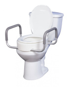 Drive Medical Premium Seat Riser with Removable Arms for Standard Toilets, White